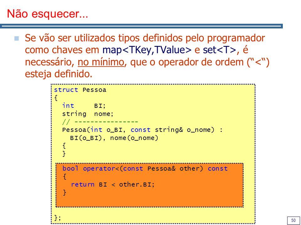 50 Não esquecer... Se vão ser utilizados tipos definidos pelo programador como chaves em map e set, é necessário, no mínimo, que o operador de ordem (