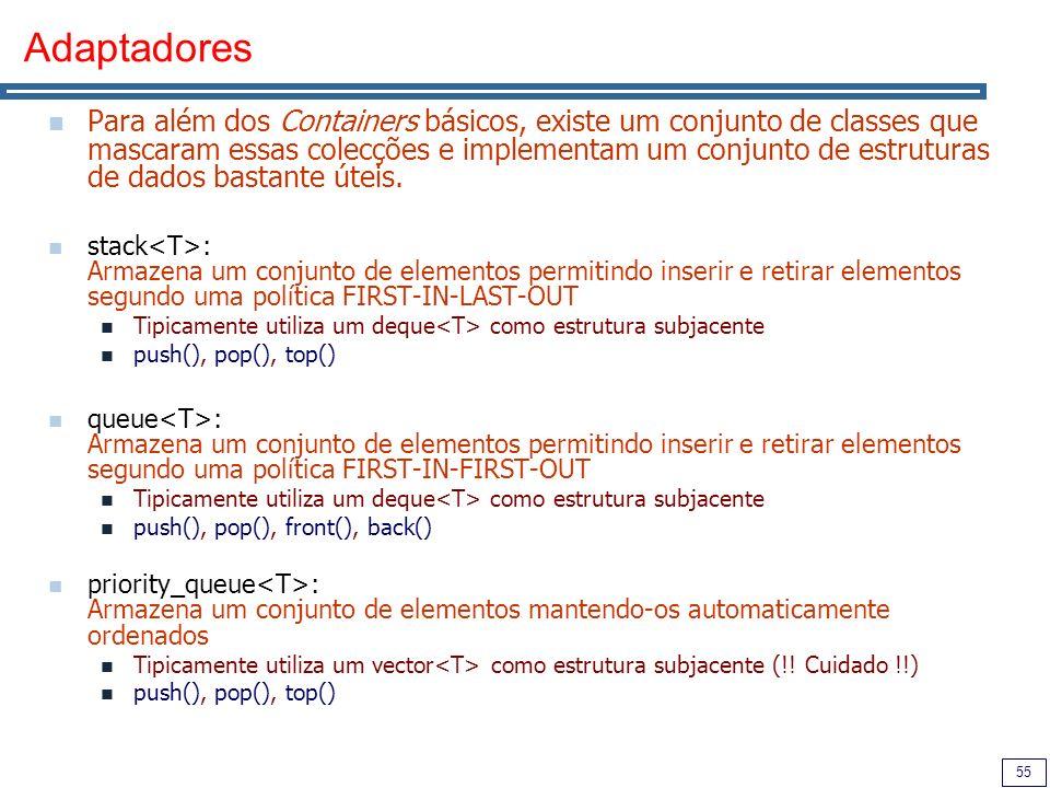 55 Adaptadores Para além dos Containers básicos, existe um conjunto de classes que mascaram essas colecções e implementam um conjunto de estruturas de