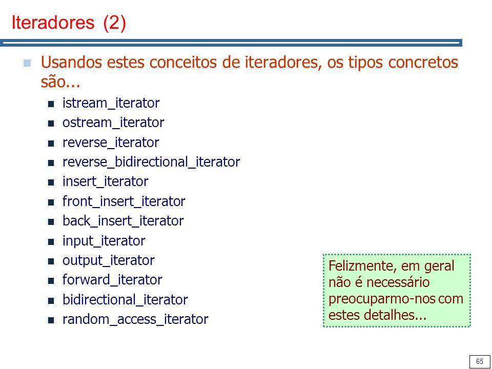 65 Iteradores (2) Usandos estes conceitos de iteradores, os tipos concretos são... istream_iterator ostream_iterator reverse_iterator reverse_bidirect