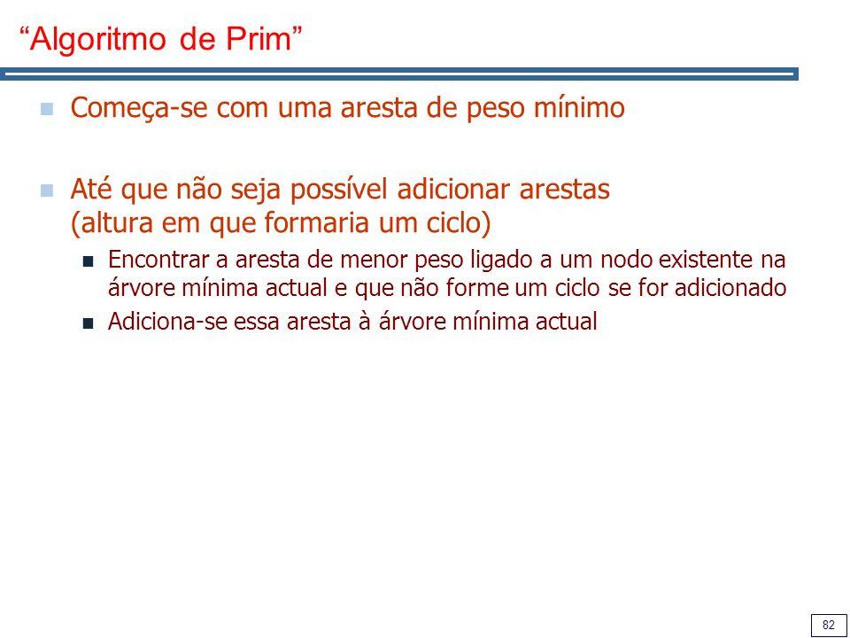 82 Algoritmo de Prim Começa-se com uma aresta de peso mínimo Até que não seja possível adicionar arestas (altura em que formaria um ciclo) Encontrar a