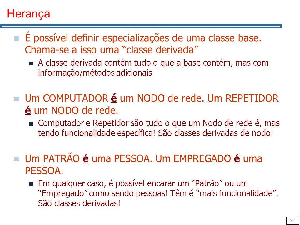 20 Herança É possível definir especializações de uma classe base.