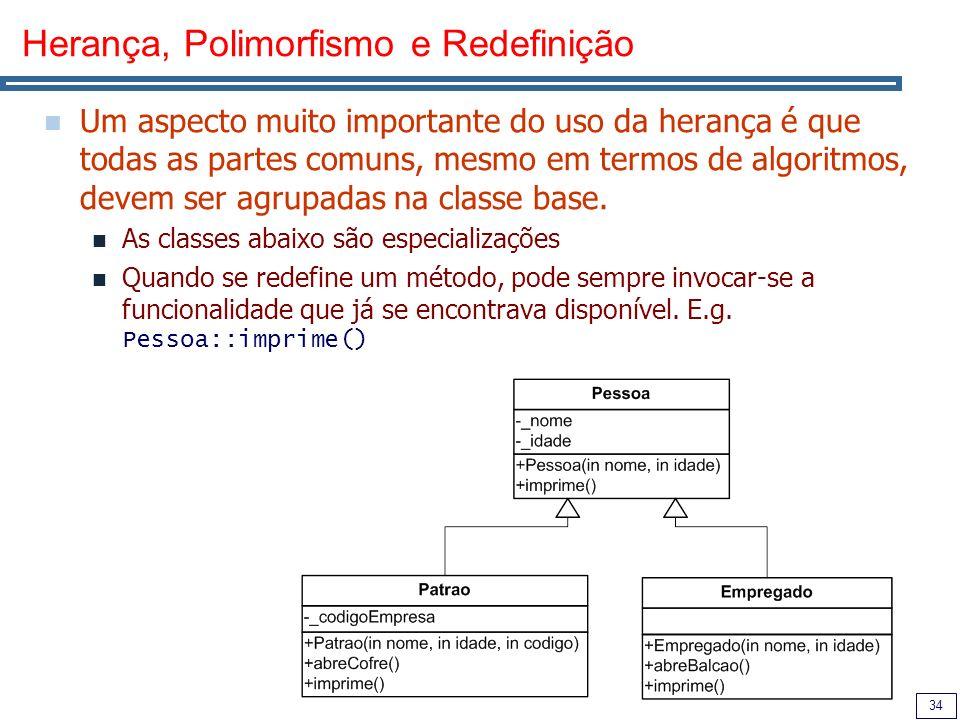 34 Herança, Polimorfismo e Redefinição Um aspecto muito importante do uso da herança é que todas as partes comuns, mesmo em termos de algoritmos, devem ser agrupadas na classe base.