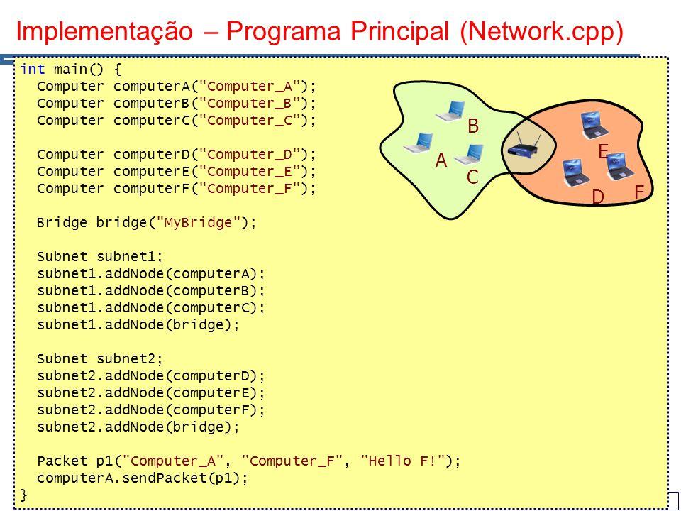 43 Implementação – Programa Principal (Network.cpp) int main() { Computer computerA( Computer_A ); Computer computerB( Computer_B ); Computer computerC( Computer_C ); Computer computerD( Computer_D ); Computer computerE( Computer_E ); Computer computerF( Computer_F ); Bridge bridge( MyBridge ); Subnet subnet1; subnet1.addNode(computerA); subnet1.addNode(computerB); subnet1.addNode(computerC); subnet1.addNode(bridge); Subnet subnet2; subnet2.addNode(computerD); subnet2.addNode(computerE); subnet2.addNode(computerF); subnet2.addNode(bridge); Packet p1( Computer_A , Computer_F , Hello F! ); computerA.sendPacket(p1); } A B C D E F