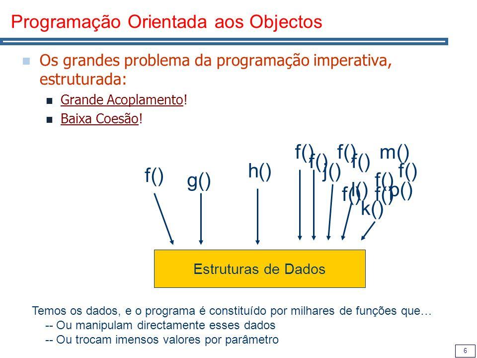 6 Programação Orientada aos Objectos Os grandes problema da programação imperativa, estruturada: Grande Acoplamento.