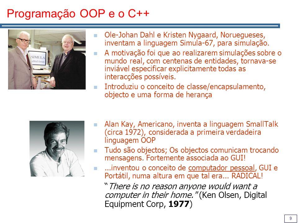 9 Programação OOP e o C++ Ole-Johan Dahl e Kristen Nygaard, Noruegueses, inventam a linguagem Simula-67, para simulação.