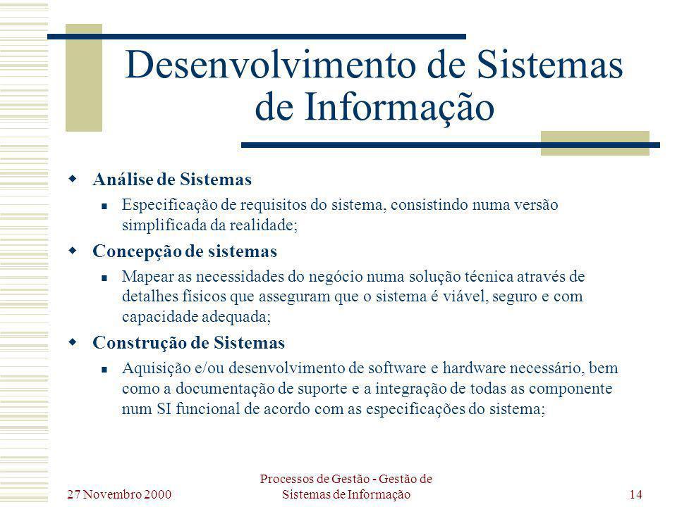 27 Novembro 2000 Processos de Gestão - Gestão de Sistemas de Informação14 Desenvolvimento de Sistemas de Informação Análise de Sistemas Especificação