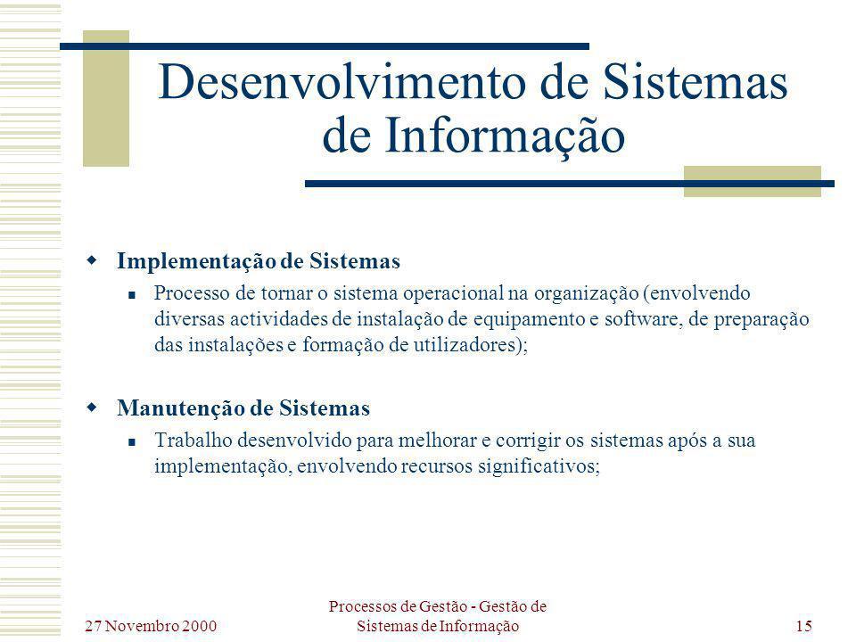 27 Novembro 2000 Processos de Gestão - Gestão de Sistemas de Informação15 Desenvolvimento de Sistemas de Informação Implementação de Sistemas Processo