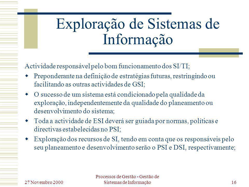 27 Novembro 2000 Processos de Gestão - Gestão de Sistemas de Informação16 Exploração de Sistemas de Informação Actividade responsável pelo bom funcion