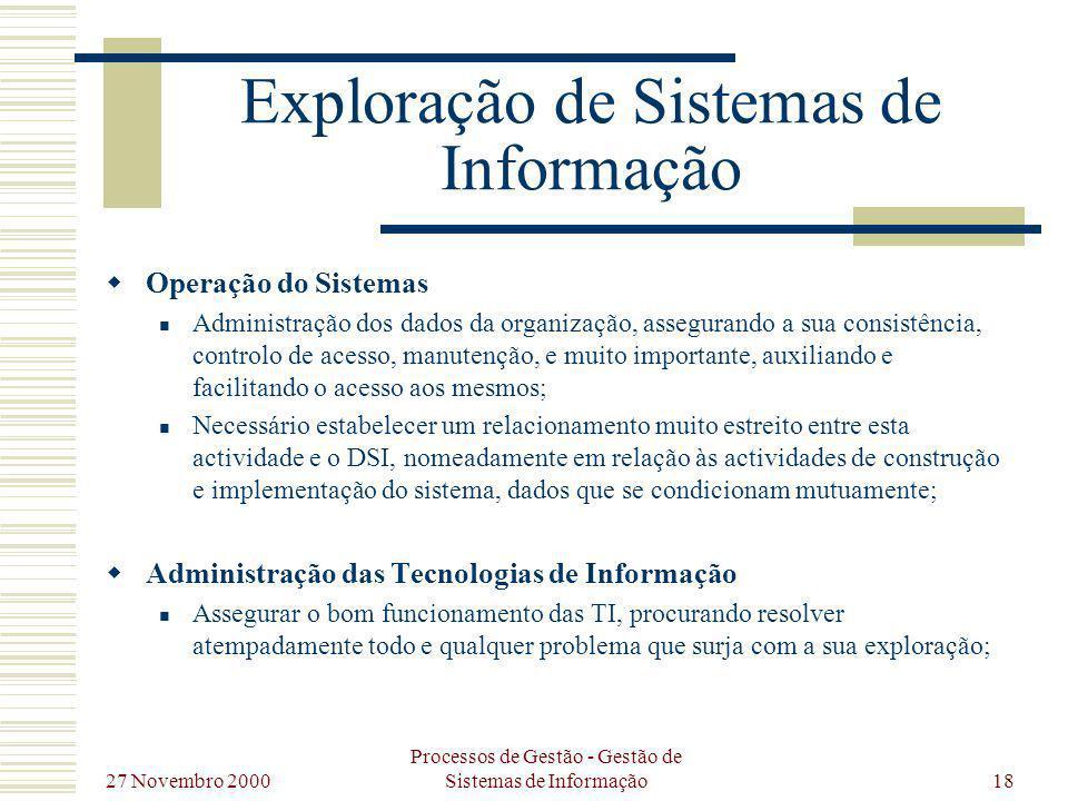 27 Novembro 2000 Processos de Gestão - Gestão de Sistemas de Informação18 Exploração de Sistemas de Informação Operação do Sistemas Administração dos