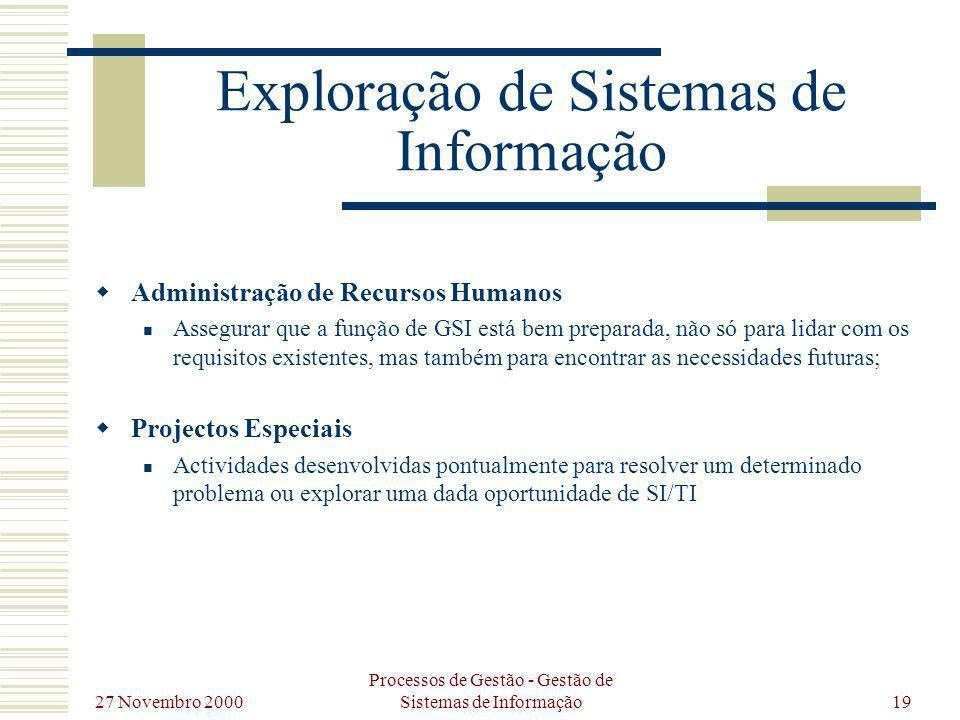 27 Novembro 2000 Processos de Gestão - Gestão de Sistemas de Informação19 Exploração de Sistemas de Informação Administração de Recursos Humanos Asseg