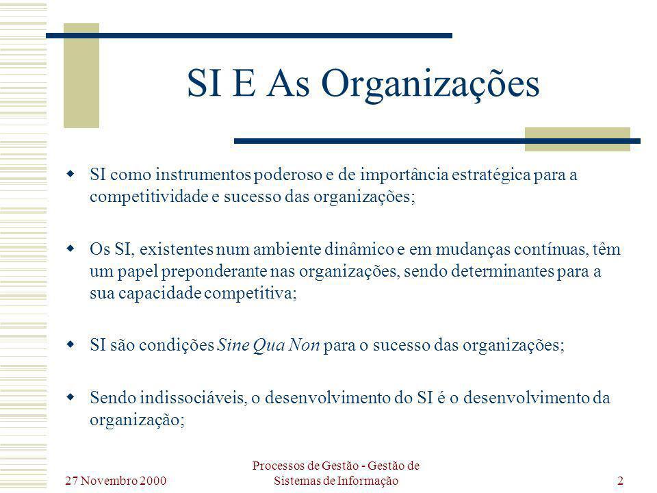 27 Novembro 2000 Processos de Gestão - Gestão de Sistemas de Informação13 Desenvolvimento de Sistemas de Informação Análise de Sistemas Construçã o de Sistemas Implement ação de Sistemas Manutenç ão de Sistemas Concepçã o de Sistemas DSI