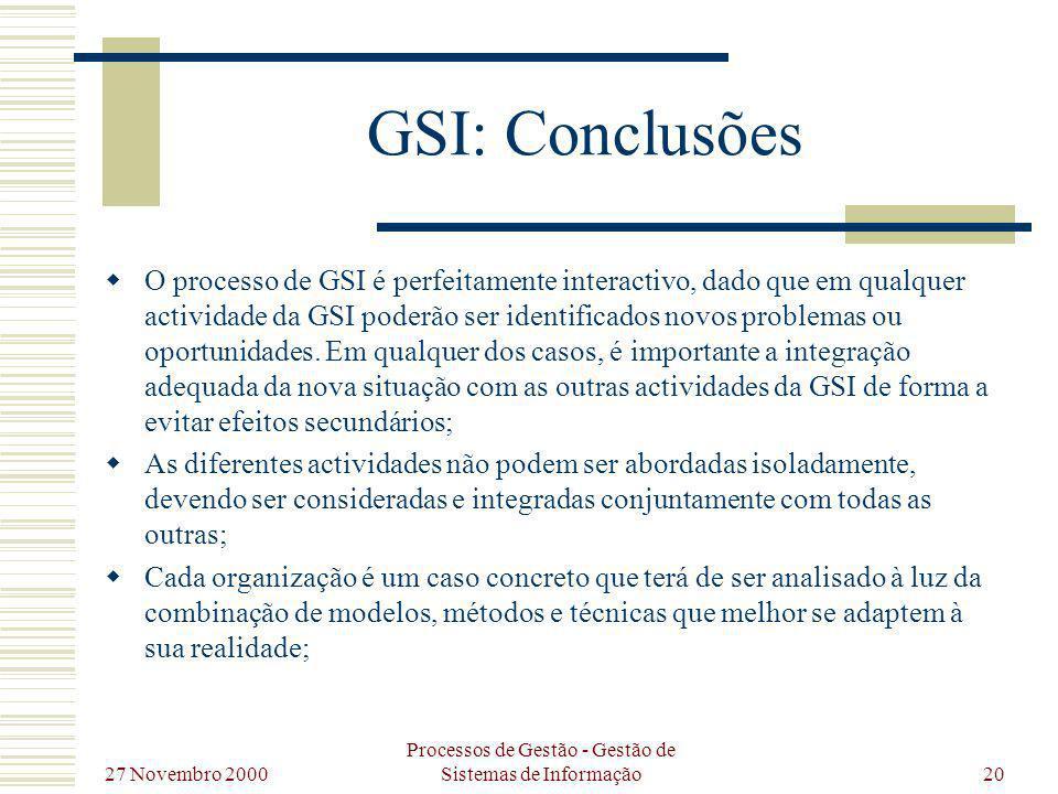 27 Novembro 2000 Processos de Gestão - Gestão de Sistemas de Informação20 GSI: Conclusões O processo de GSI é perfeitamente interactivo, dado que em q