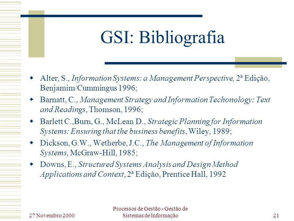 27 Novembro 2000 Processos de Gestão - Gestão de Sistemas de Informação21 GSI: Bibliografia Alter, S., Information Systems: a Management Perspective,