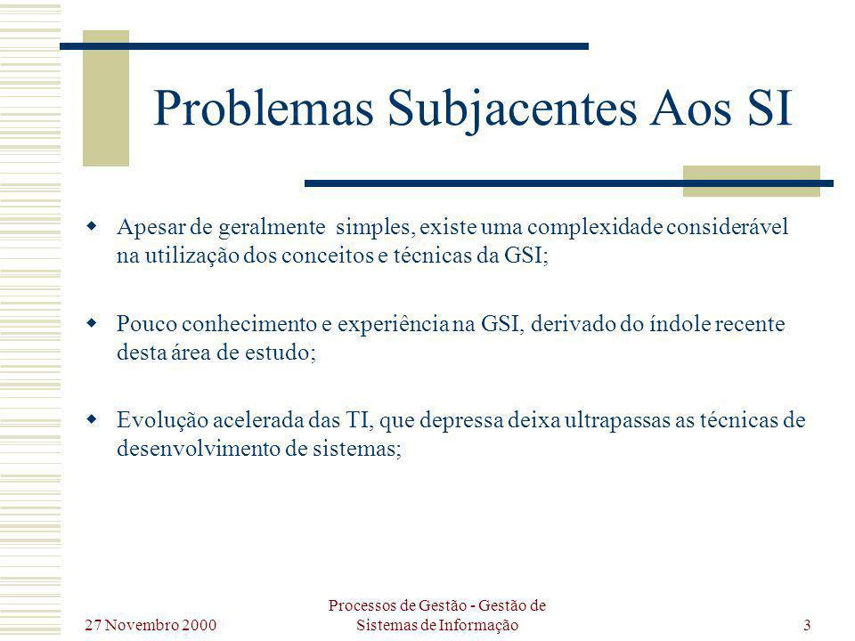 27 Novembro 2000 Processos de Gestão - Gestão de Sistemas de Informação3 Problemas Subjacentes Aos SI Apesar de geralmente simples, existe uma complex