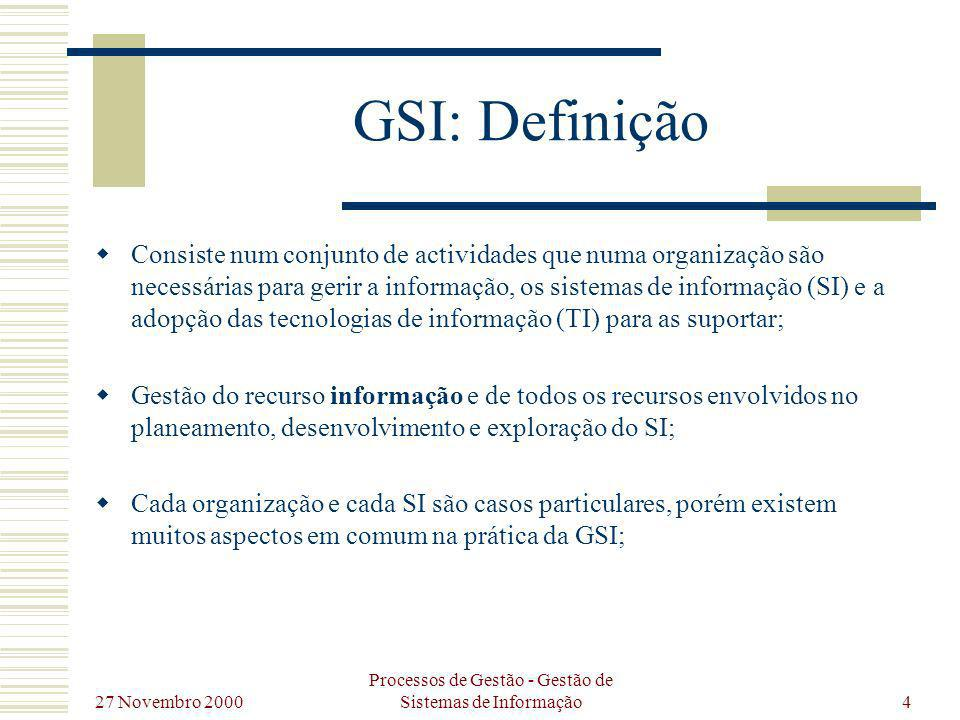 27 Novembro 2000 Processos de Gestão - Gestão de Sistemas de Informação5 GSI: Actividades Pode-se conceptualizar a GSI através de 3 actividades principais: Planeamento de Sistemas de Informação (PSI); Desenvolvimento de Sistemas de Informação (DSI); Exploração dos Sistemas de Informação (ESI);