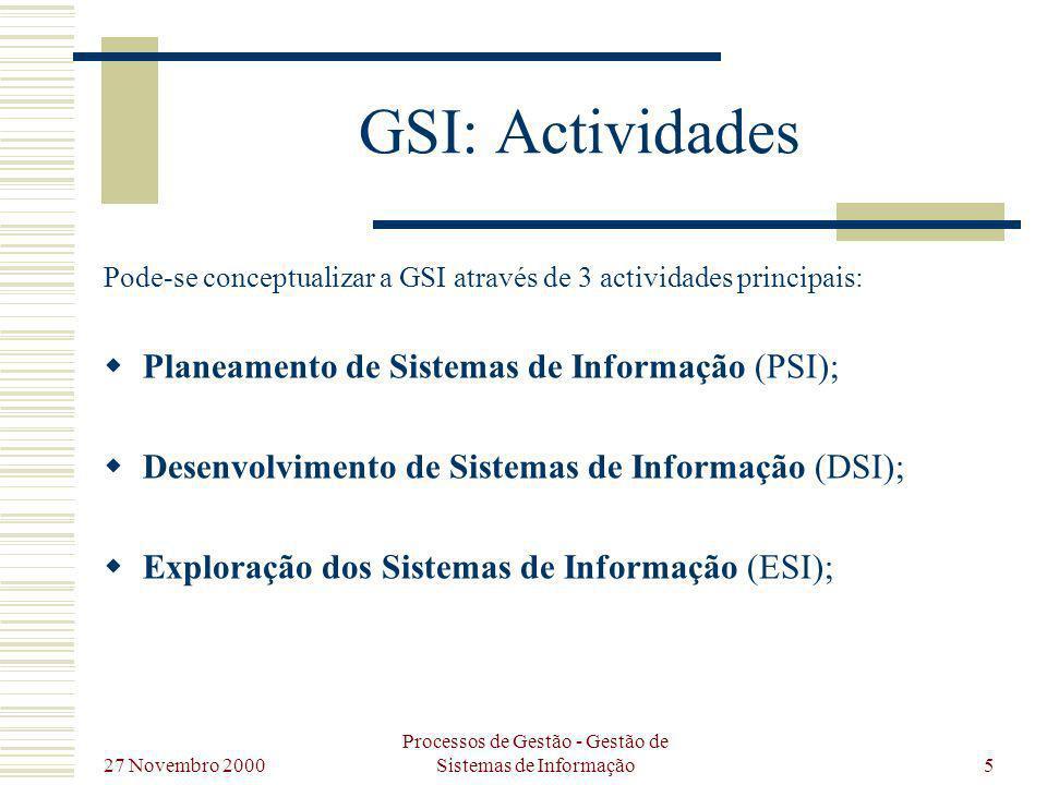 27 Novembro 2000 Processos de Gestão - Gestão de Sistemas de Informação6 GSI: Actividades Planeament o de Sistemas de Informação Desenvolvim ento de Sistemas de Informação Exploração de Sistemas de Informação GSI