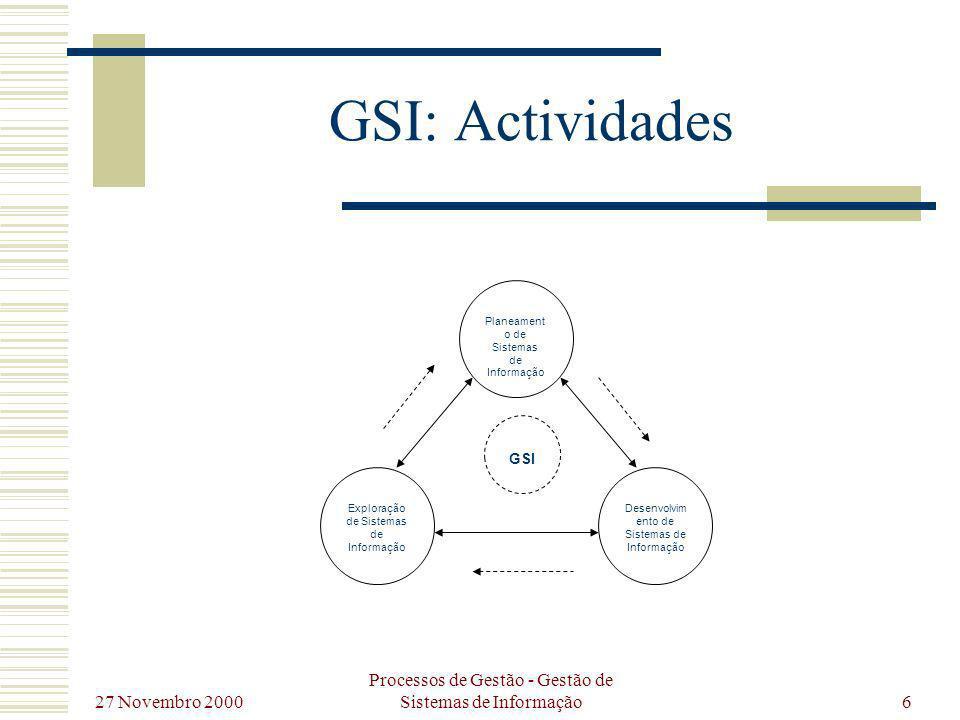 27 Novembro 2000 Processos de Gestão - Gestão de Sistemas de Informação7 GSI: Actividades Processo continuo e interactivo, compreendida pelas actividades de PSI, DSI e ESI; Actividades significativamente relacionadas e interdependentes entre si; Pode considerar-se uma sequência lógica das actividades, na qual os SI são idealizados (PSI), produzidos (DSI) e finalmente utilizados (ESI); Processo não só continuo mas cíclico, onde as actividades em que se decompõe se alimentam mutuamente em cada geração do sistema, por forma a adaptar-se as necessidades da organização ao longo do tempo;
