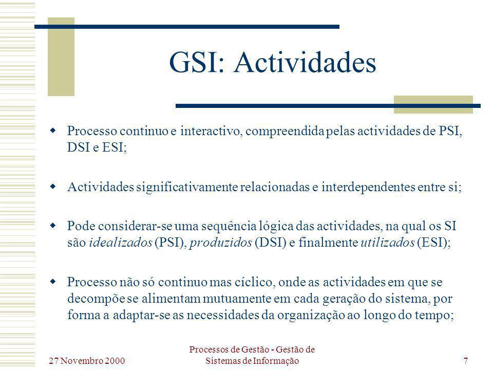 27 Novembro 2000 Processos de Gestão - Gestão de Sistemas de Informação7 GSI: Actividades Processo continuo e interactivo, compreendida pelas activida