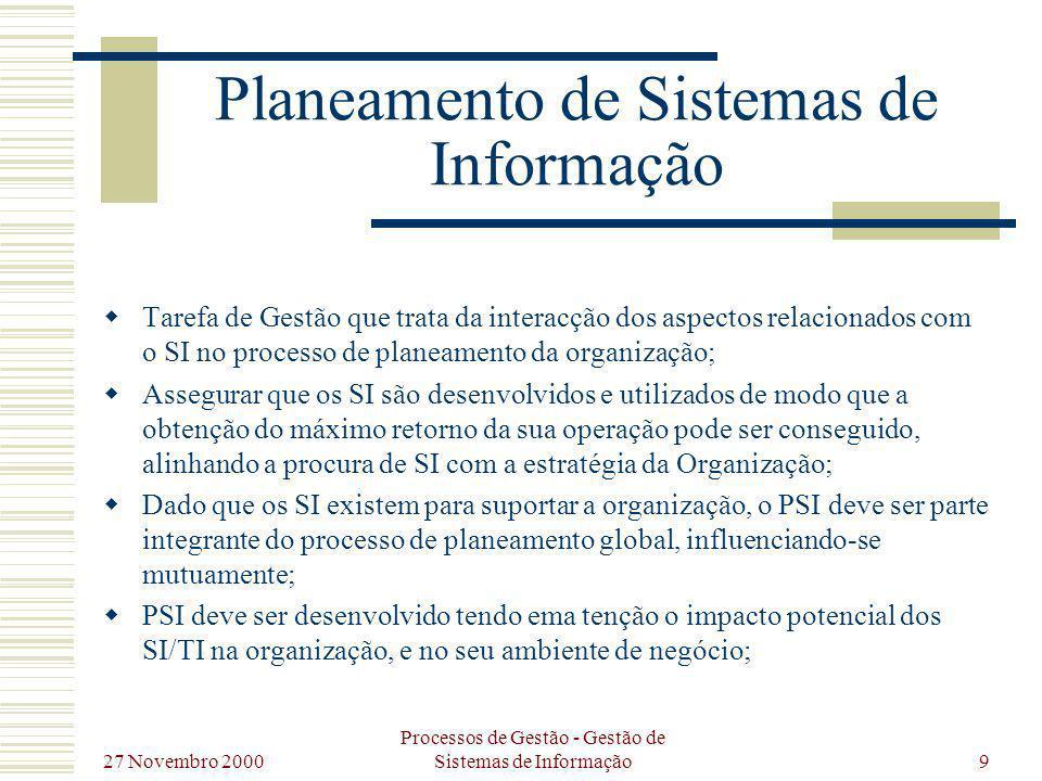 27 Novembro 2000 Processos de Gestão - Gestão de Sistemas de Informação10 Planeamento de Sistemas de Informação Implementa ção Estratégica Definição Estrtégica Análise Estratégica PSI