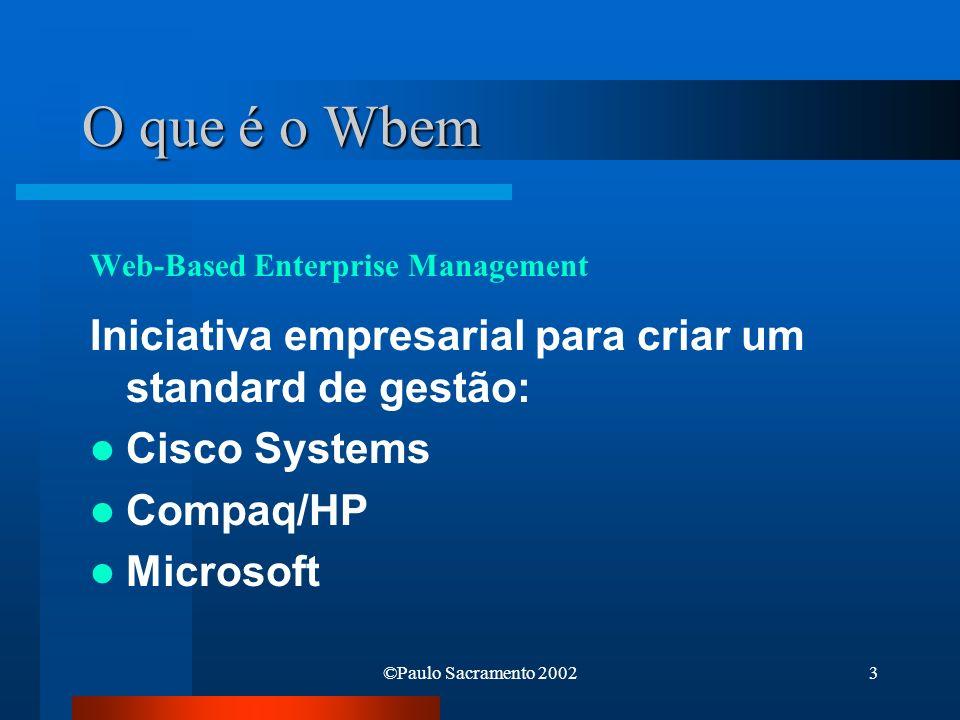©Paulo Sacramento 20024 O que é o WMI Implementação Microsoft Plataformas: Windows 95/98/Me Windows NT 4.0/2000/XP Windows Management Instrumentation