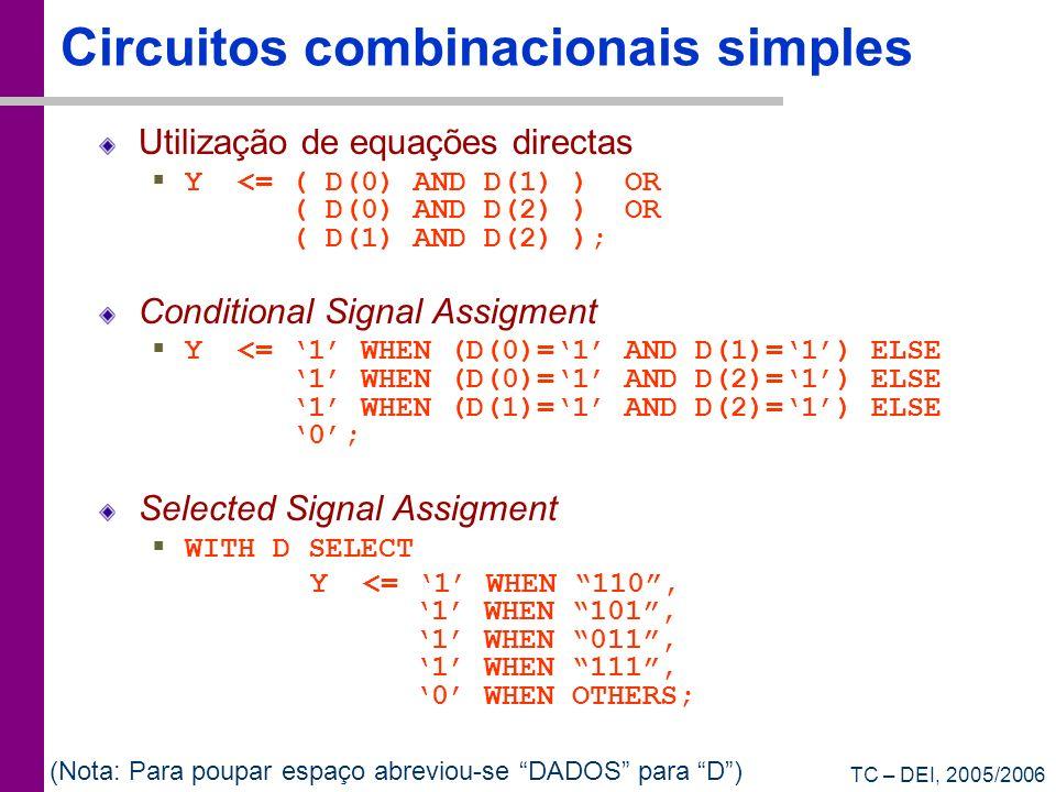 TC – DEI, 2005/2006 Circuitos combinacionais simples Utilização de equações directas Y <= ( D(0) AND D(1) ) OR ( D(0) AND D(2) ) OR ( D(1) AND D(2) );