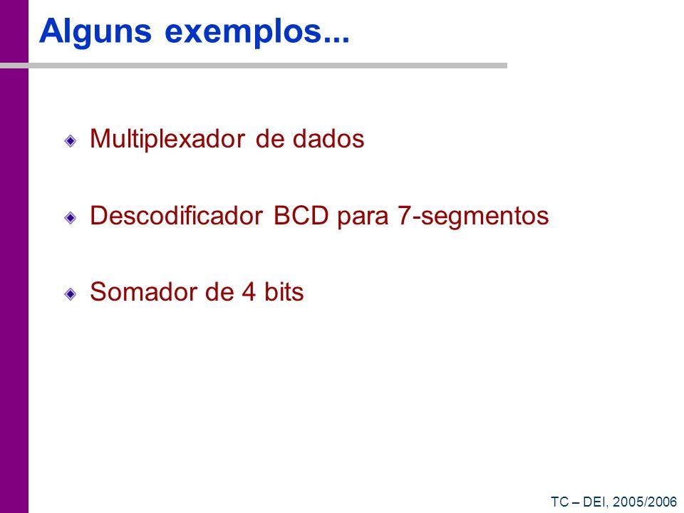 TC – DEI, 2005/2006 Alguns exemplos... Multiplexador de dados Descodificador BCD para 7-segmentos Somador de 4 bits