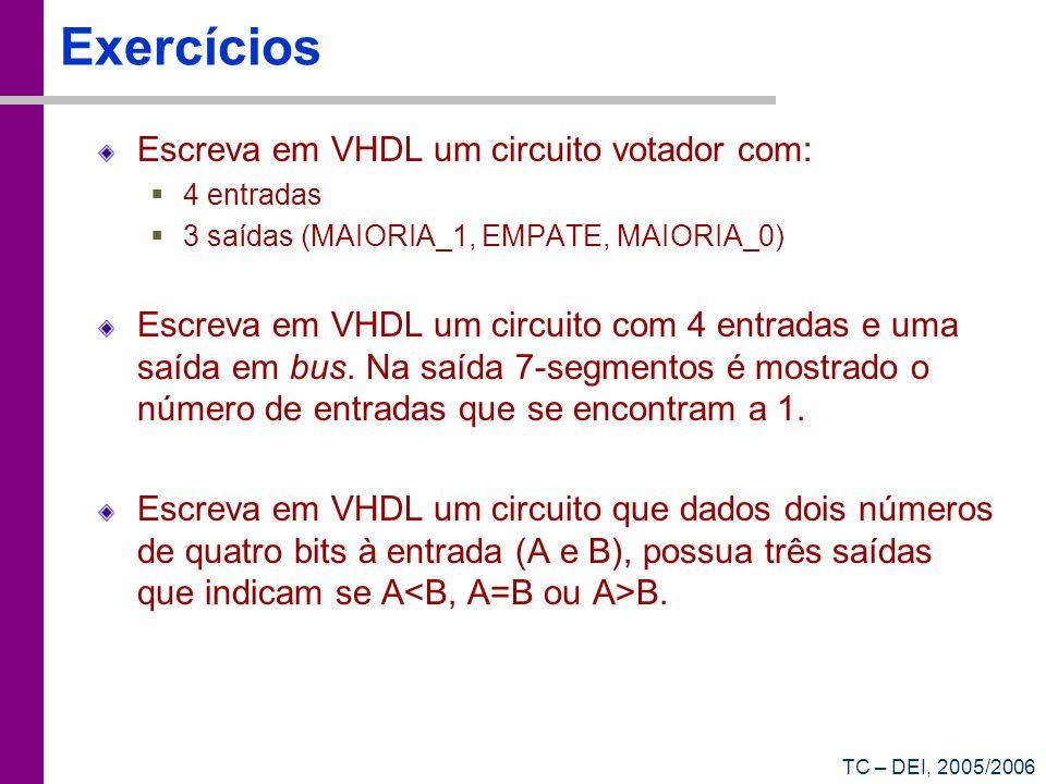TC – DEI, 2005/2006 Exercícios Escreva em VHDL um circuito votador com: 4 entradas 3 saídas (MAIORIA_1, EMPATE, MAIORIA_0) Escreva em VHDL um circuito