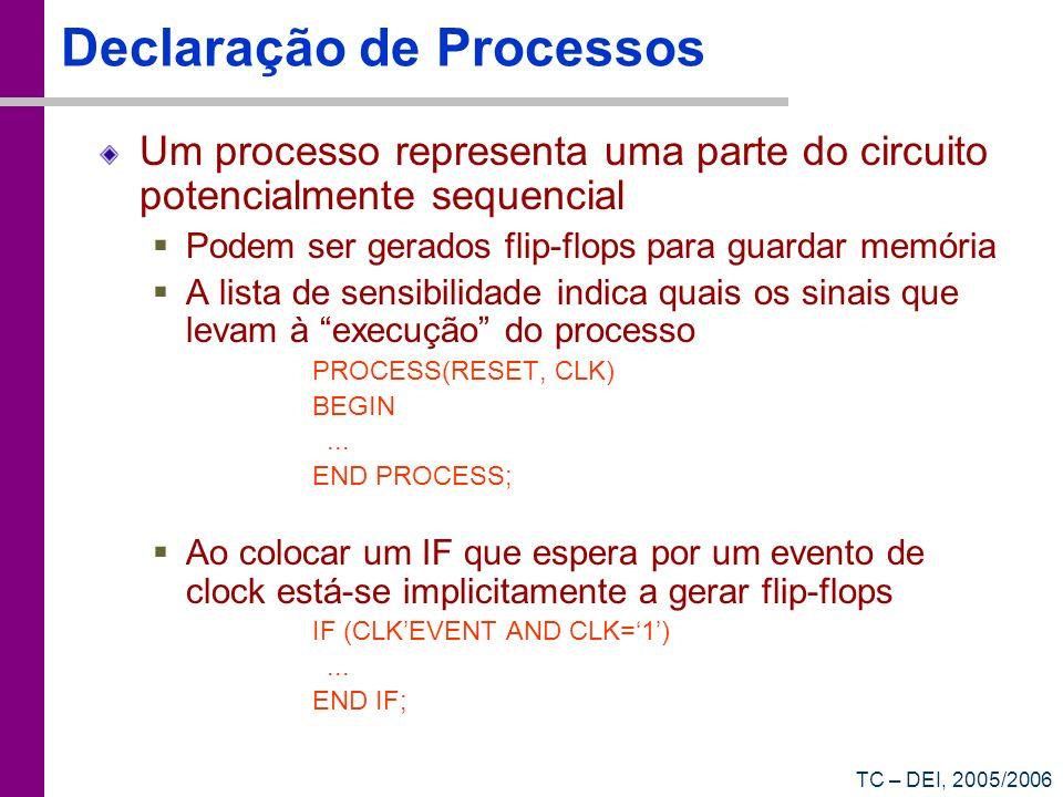 TC – DEI, 2005/2006 Declaração de Processos Um processo representa uma parte do circuito potencialmente sequencial Podem ser gerados flip-flops para g