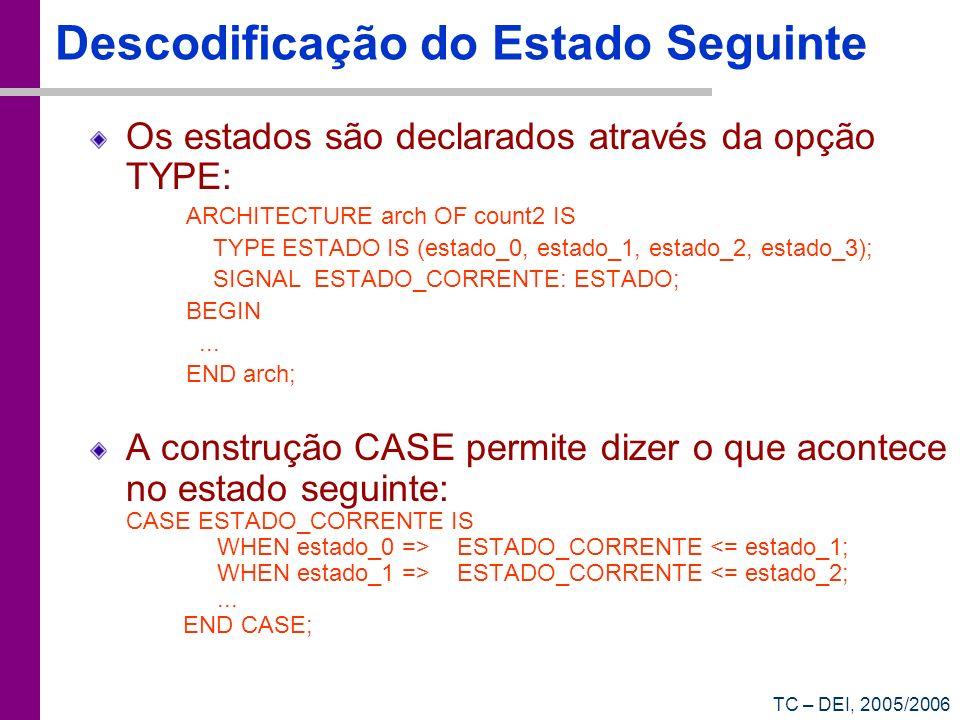 TC – DEI, 2005/2006 Descodificação do Estado Seguinte Os estados são declarados através da opção TYPE: ARCHITECTURE arch OF count2 IS TYPE ESTADO IS (
