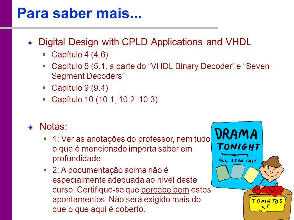 TC – DEI, 2005/2006 Para saber mais... Digital Design with CPLD Applications and VHDL Capítulo 4 (4.6) Capítulo 5 (5.1, a parte do VHDL Binary Decoder