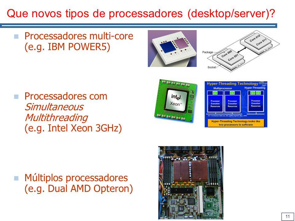 11 Que novos tipos de processadores (desktop/server).