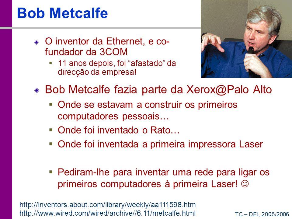 TC – DEI, 2005/2006 Bob Metcalfe O inventor da Ethernet, e co- fundador da 3COM 11 anos depois, foi afastado da direcção da empresa.