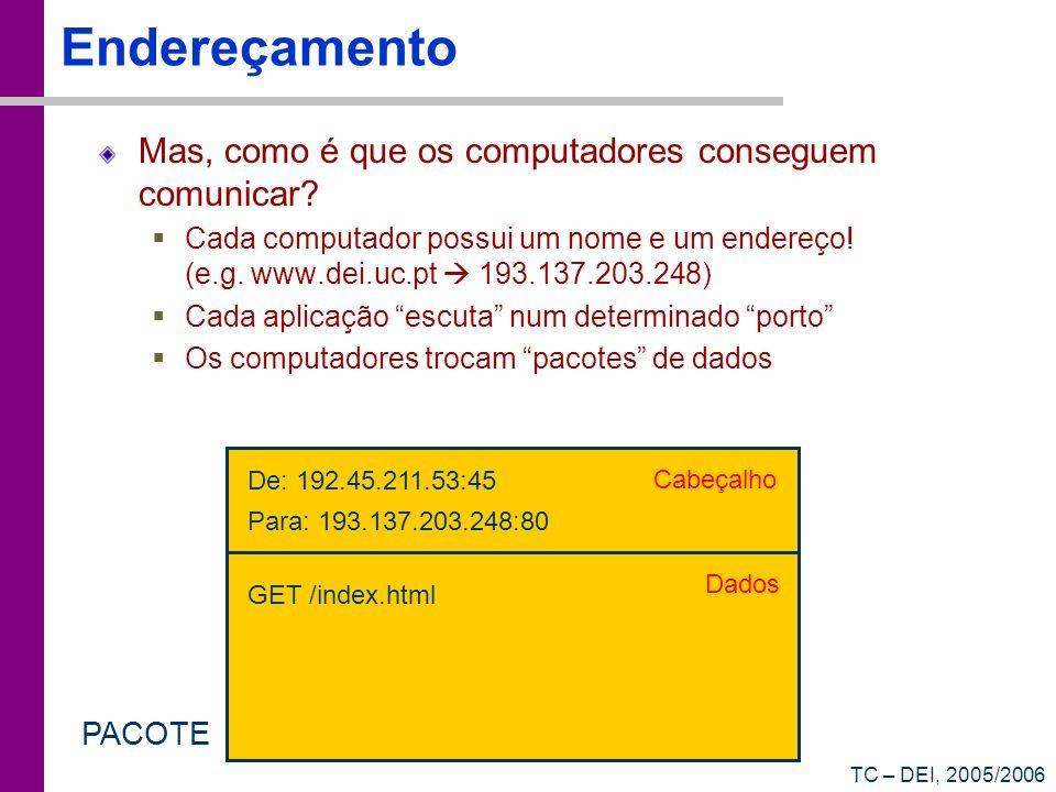 TC – DEI, 2005/2006 Endereçamento Mas, como é que os computadores conseguem comunicar.