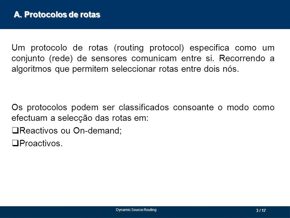 A. Protocolos de rotas Um protocolo de rotas (routing protocol) especifica como um conjunto (rede) de sensores comunicam entre si. Recorrendo a algori