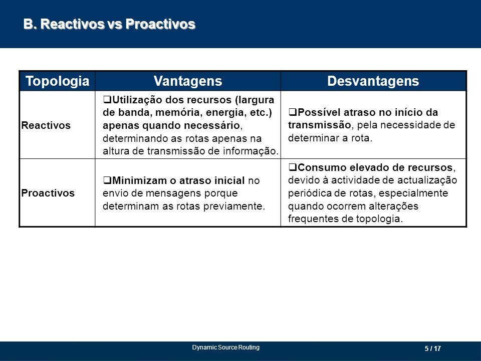 B. Reactivos vs Proactivos TopologiaVantagensDesvantagens Reactivos Utilização dos recursos (largura de banda, memória, energia, etc.) apenas quando n