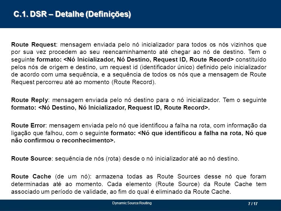 C.1. DSR – Detalhe (Definições) Route Request: mensagem enviada pelo nó inicializador para todos os nós vizinhos que por sua vez procedem ao seu reenc