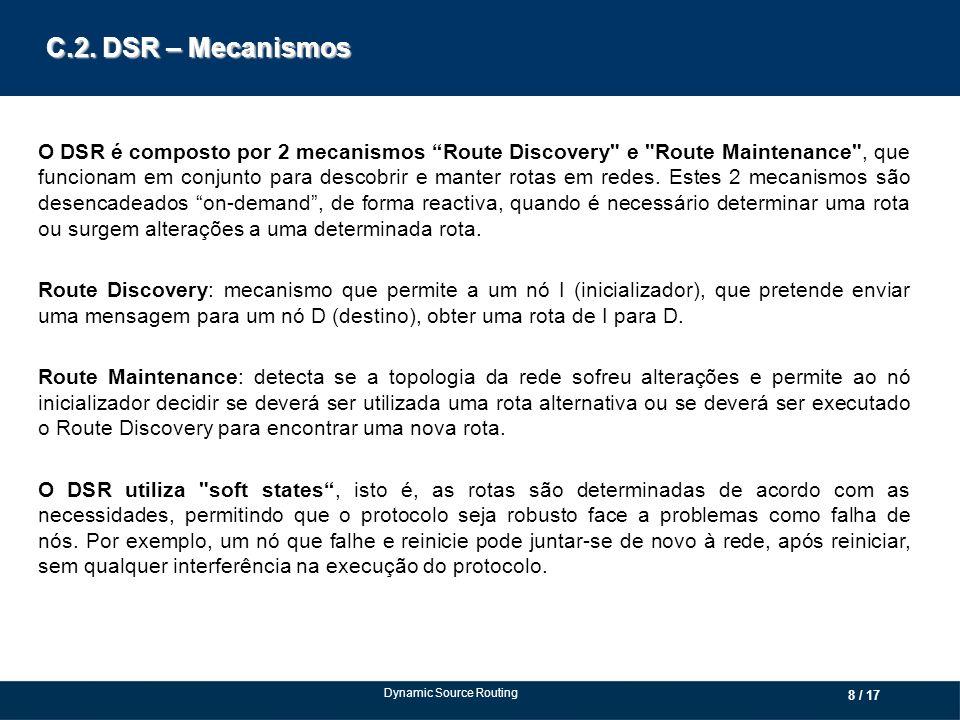 C.2. DSR – Mecanismos O DSR é composto por 2 mecanismos Route Discovery