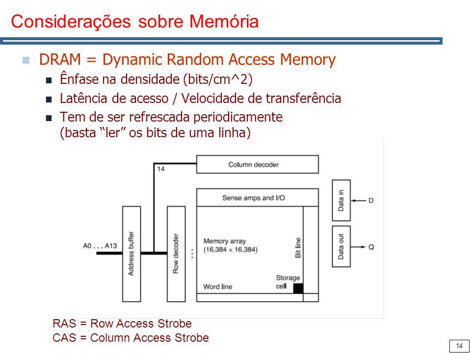 14 Considerações sobre Memória DRAM = Dynamic Random Access Memory Ênfase na densidade (bits/cm^2) Latência de acesso / Velocidade de transferência Tem de ser refrescada periodicamente (basta ler os bits de uma linha) RAS = Row Access Strobe CAS = Column Access Strobe