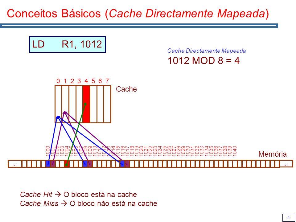 4 Conceitos Básicos (Cache Directamente Mapeada) Cache Memória 01234567...