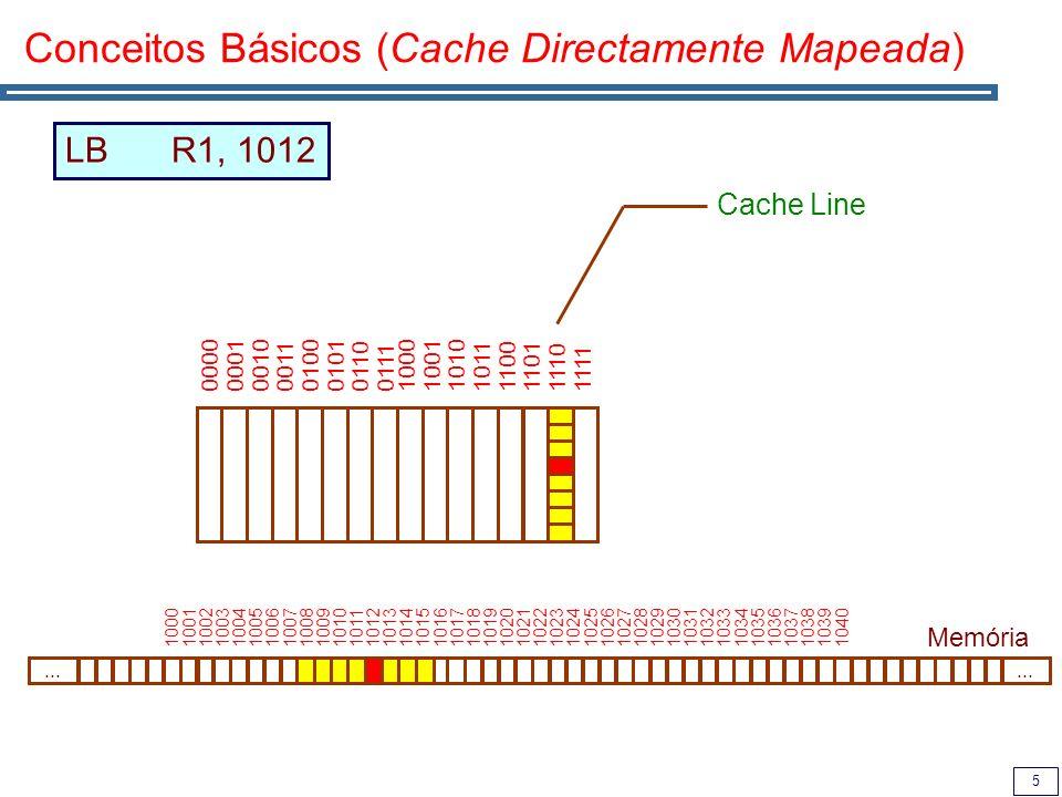 5 Conceitos Básicos (Cache Directamente Mapeada) Memória 00000001001000110100010101100111...