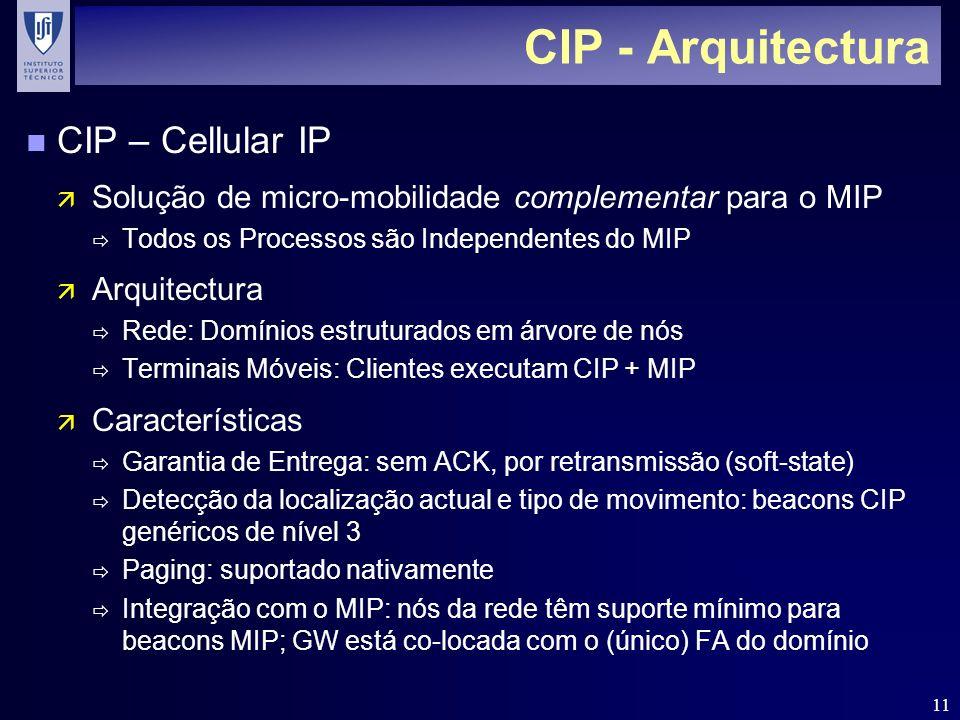 11 CIP - Arquitectura n CIP – Cellular IP ä Solução de micro-mobilidade complementar para o MIP Todos os Processos são Independentes do MIP ä Arquitec
