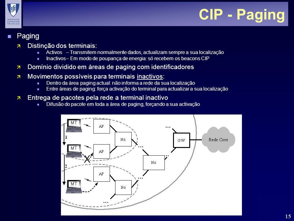 15 CIP - Paging n Paging ä Distinção dos terminais: n Activos– Transmitem normalmente dados, actualizam sempre a sua localização n Inactivos– Em modo