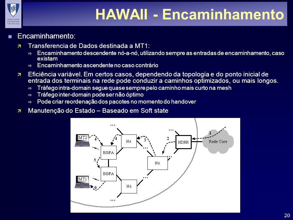 20 HAWAII - Encaminhamento n Encaminhamento: ä Transferencia de Dados destinada a MT1: Encaminhamento descendente nó-a-nó, utilizando sempre as entrad