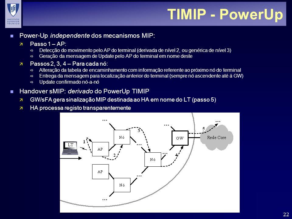 22 TIMIP - PowerUp n Power-Up independente dos mecanismos MIP: ä Passo 1 – AP: Detecção do movimento pelo AP do terminal (derivada de nível 2, ou gené