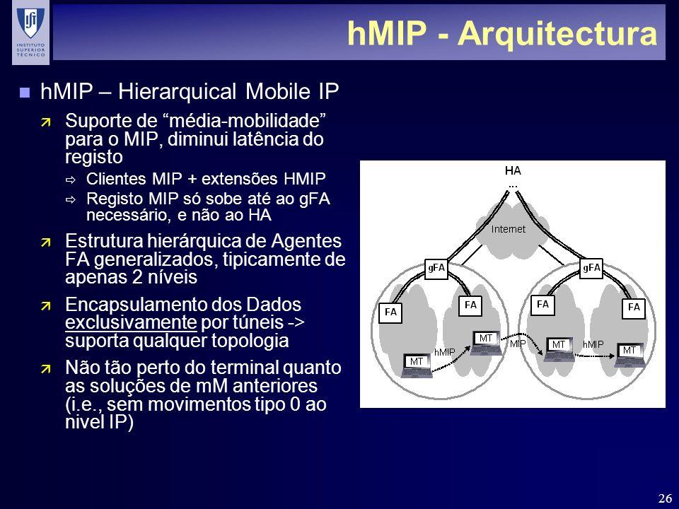 26 hMIP - Arquitectura n hMIP – Hierarquical Mobile IP ä Suporte de média-mobilidade para o MIP, diminui latência do registo Clientes MIP + extensões