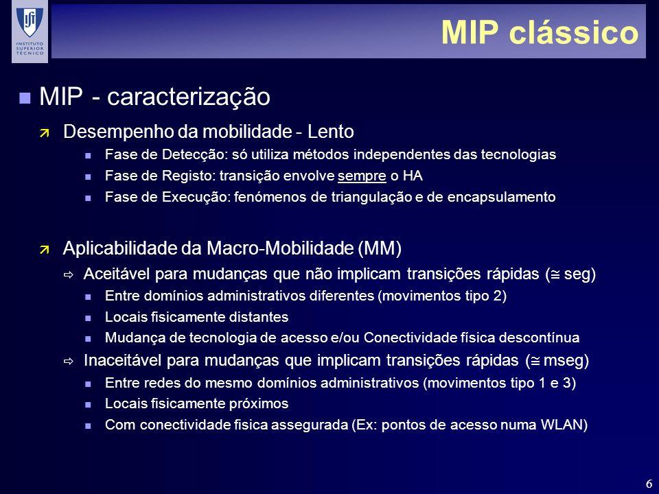 6 MIP clássico n MIP - caracterização ä Desempenho da mobilidade - Lento n Fase de Detecção: só utiliza métodos independentes das tecnologias n Fase d