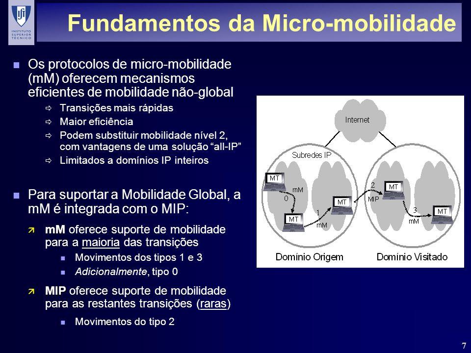 7 Fundamentos da Micro-mobilidade n Os protocolos de micro-mobilidade (mM) oferecem mecanismos eficientes de mobilidade não-global Transições mais ráp
