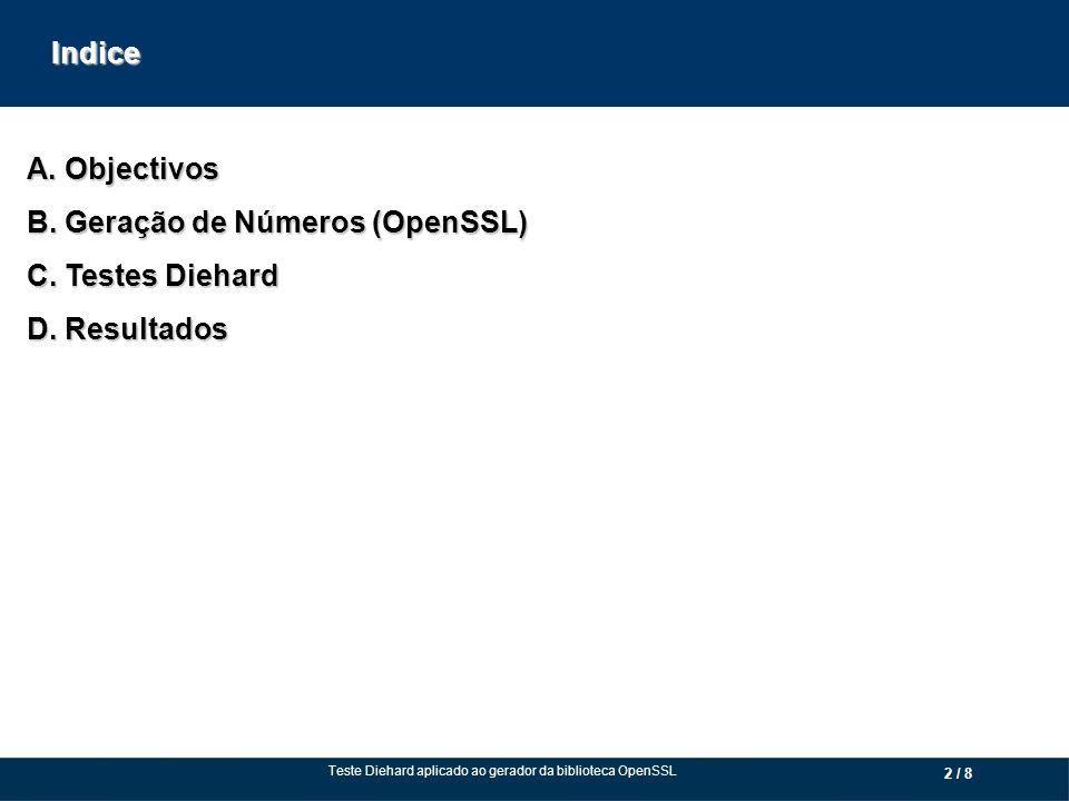 2 / 8 A. Objectivos B. Geração de Números (OpenSSL) C.