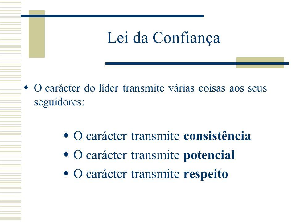 Lei da Confiança Para construir relações de confiança, um líder tem que exibir competência, ligação com as pessoas e carácter. As pessoas toleram erro