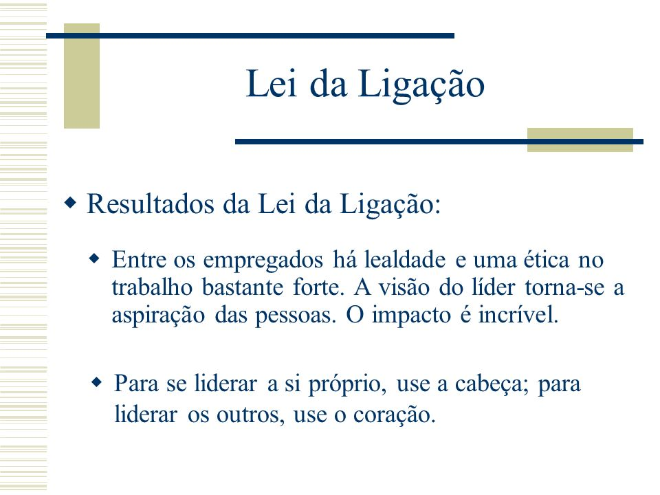 Lei da Ligação Um líder tem que perceber que a sua relação com um grupo de pessoas deve ser um conjunto de relações individuais. É da responsabilidade
